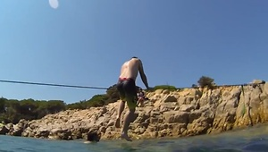 Incredible 'Trickline' Balancing Skills Over Water - Video