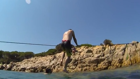 Incredible 'Trickline' Balancing Skills Over Water