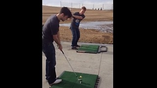 Two Friends Pull Off Incredible Golf Trick Shot - Video