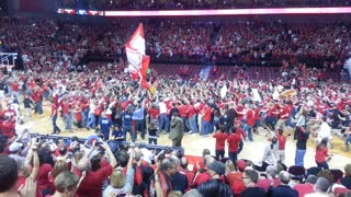 Husker fans storm the court after big win: Nebraska 77, #9 Wisconsin 68 - Video