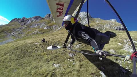 POV Hang Glider Flying Over the Alps!