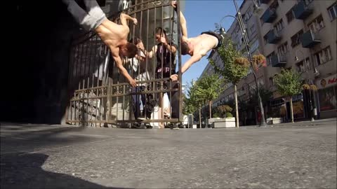 Street Workout Group With Superhuman Strength