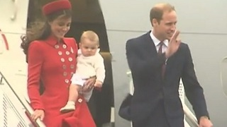 William, Kate And Prince George Arrive In New Zealand - Video