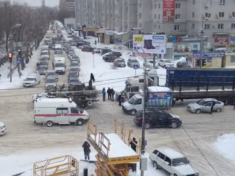 Army Tank Tows Truck In Russia