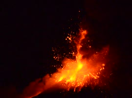 Mount Etna Eruption: Lava Bubble Explosion - Video