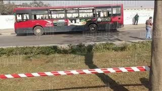 EXPLOSION HITS BUS IN EGYPTIAN CAPITAL CAIRO ( egypt القاهرة مصر - Video