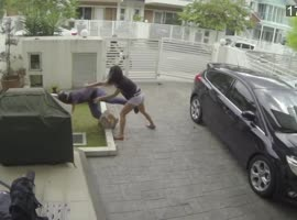 Woman fights back snatch thief with a knee to the stomach - Video