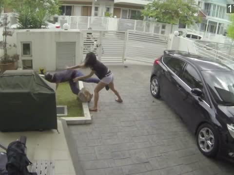 Woman fights back snatch thief with a knee to the stomach