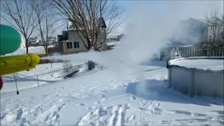 Shooting Boiling Water From Water Gun In Extreme Cold - Video