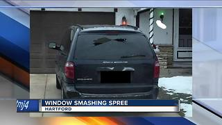 Vandal smashes Hartford windows with pellet gun - Video