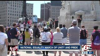 Monument Circle was the site Sunday for an equality rally