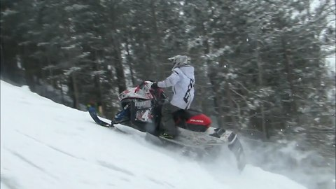 Another Snowmobile Into The Trees During Hillclimb | Just Snowmobiles