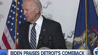Vice President Joe Biden praises Detroit's comeback during Motor City Match - Video