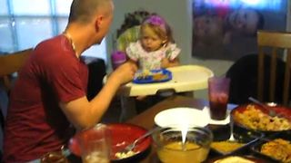 Toddler Won't Forgive Dad Stealing Her Food - Video
