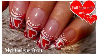Red heart Valentine's Day nail art - Video