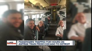 Passengers on Amtrak train from Chicago to Detroit and Pontiac delayed hours - Video