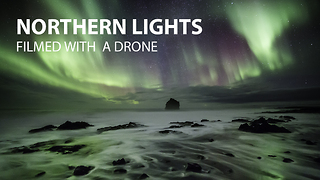 Northern Lights shot with a drone in Iceland - Video