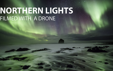 Northern Lights shot with a drone in Iceland