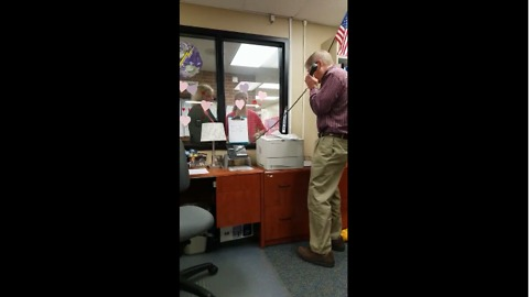 Teacher sings over PA for Valentine's Day