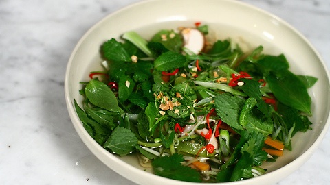 Low calorie Vietnamese spicy pho with courgette noodles