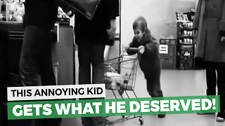 Kid Rams Shopping Cart Into A Stranger's Leg Three Times, Gets Response No One Saw Coming - Video