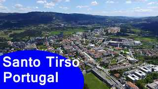 Santo Tirso, Portugal: 4K Ultra HD aerial footage - Video