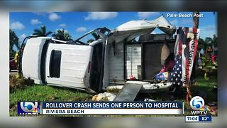 Rollover crash in Riviera Beach sends person to hospital - Video