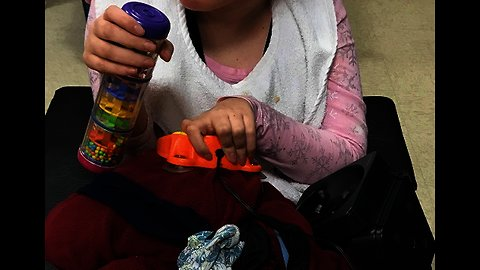 Girl with Developmental Disabilities Presses Switch Using Toy or Hand