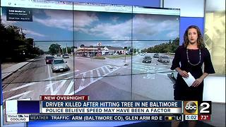 Driver killed after hitting tree in Baltimore - Video
