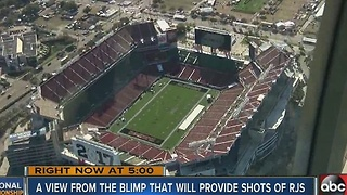A view from the blimp that will provide shots of Raymond James Stadium - Video