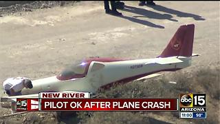 Pilot OK after plane crashes north of Phoenix