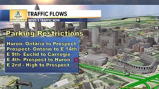 Parking and road restrictions for downtown Cleveland Friday night - Video