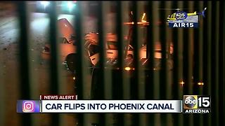 Man flips car into dry canal in Phoenix - Video