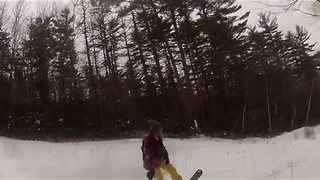 GoPro Footage Shows Snowboard Ride Through College Campus - Video