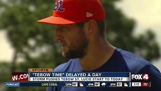 Tim Tebow's First Game With St. Lucie Mets Delayed - Video