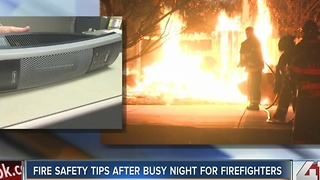 Fire safety tips after busy night for firefighters - Video
