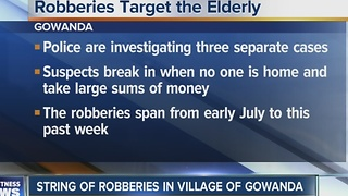 Elderly residents targeted in recent burglaries - Video