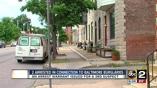 2 suspects arrested in connection to several Baltimore area burglaries - Video