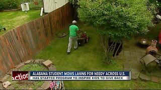 Alabama student mows lawns for needy across U.S. - Video