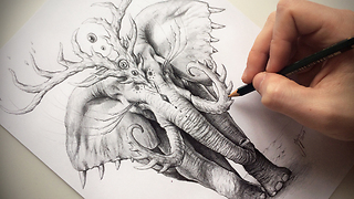 "Drawing Process of ""Elephant Soul"" - Video"