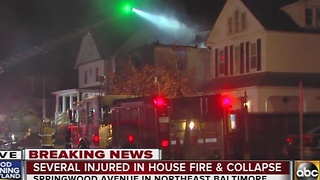 4 injured in house fire, collapse in northeast Baltimore - Video