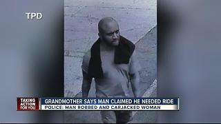 Disabled grandmother tricked into helping a man in 'need' and then carjacked - Video