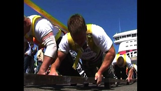Estonian Strongmen Pull Ferry - Video