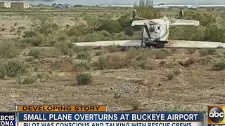 Airplane overturns during landing at Buckeye airport - Video