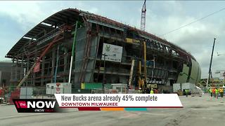 Construction on new Milwaukee Bucks arena nearj the midway point