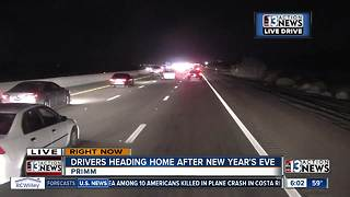 Traffic jammed as thousands leave Las Vegas New Year celebration - Video