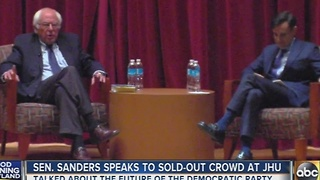 Sen. Bernie Sanders speaks to sold out crowd at JHU - Video