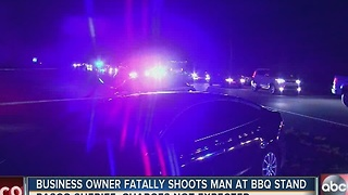 Business owner fatally shoots man at bbq stand - Video