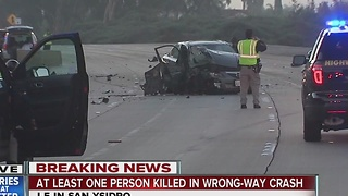 At least one person killed in wrong-way crash - Video