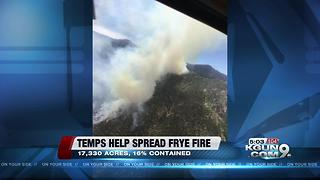 Frye Fire continues to spread as temperature climbs
